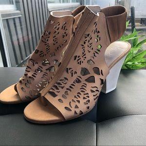 Zero + Maria Cornejo tan leather laser cut heels